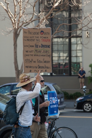 demonstrator: SAN FRANCISCO - FEBRUARY 17: Massive 'Forward on Climate' rally at One Market Plaza on February 17, 2013 in San Francisco, California. Rally organizers are calling on President Obama to move America forward with decisive action to reduce carbon pollut