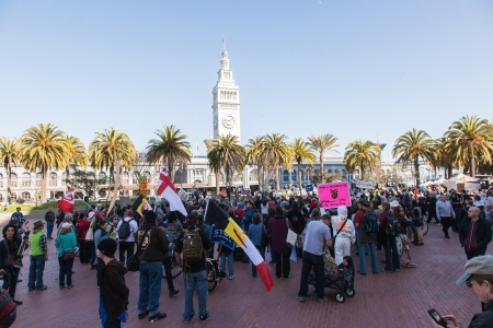 SAN FRANCISCO - FEBRUARY 17: Massive 'Forward on Climate' rally at One Market Plaza on February 17, 2013 in San Francisco, California. Rally organizers are calling on President Obama to move America forward with decisive action to reduce carbon pollut