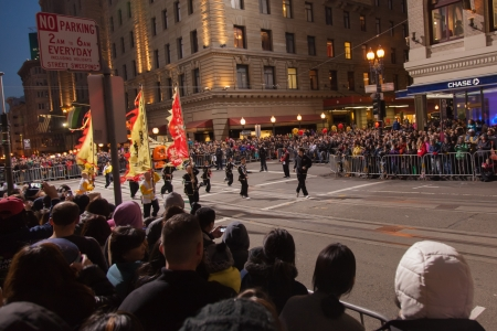 SAN FRANCISCO - FEBRUARY 23: Chinese New Year Parade in Chinatown on February 23, 2013 in San Francisco, California. Over 100 units participated in the Southwest Airlines Chinese New Year Parade. Stock Photo - 18171216