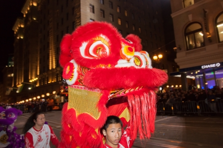 SAN FRANCISCO - FEBRUARY 23: Chinese New Year Parade in Chinatown on February 23, 2013 in San Francisco, California. Over 100 units participated in the Southwest Airlines Chinese New Year Parade. Stock Photo - 18222616