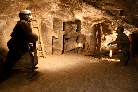 Wieliczka Salt Mine continu geproduceerd tafelzout uit de 13e eeuw tot 2007 Stockfoto