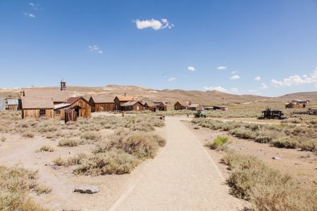 old mining building: Bodie is a ghost town in the Bodie Hills east of the Sierra Nevada mountain range in Mono County, California, United States Editorial