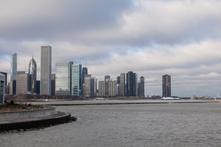 View of the city from lakefront in museum park. Stock Photo - 19268736