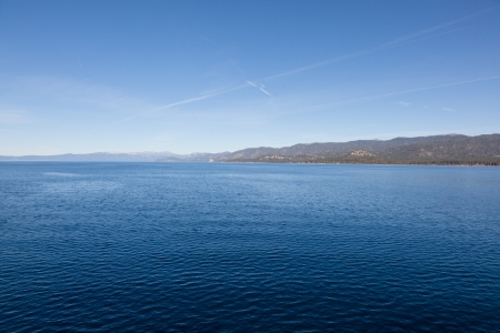 Lake Tahoe is a large freshwater lake in the Sierra Nevada mountains of the United States  photo