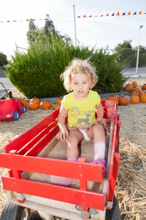 Having fun on pumpkin patch on sunny Sunday. photo