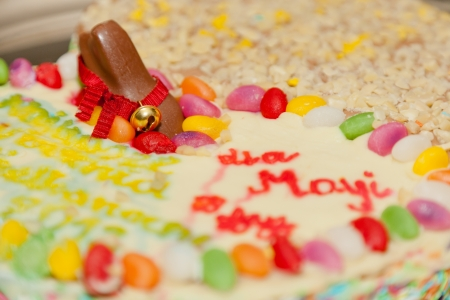 Mazurek is a type of pastry  a cake  baked in Poland, particularly at Easter, but also at other winter holidays  It is generally decorated with icing and fruit and nuts  photo