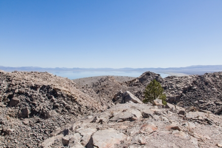Panum Crater is a volcanic cone that is part of the Mono-Inyo Craters, a chain of recent volcanic cones south of Mono Lake and east of the Sierra Nevada, in California, USA. Stock Photo - 20471024
