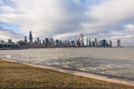 lakefront: View of the city from lakefront in museum park.
