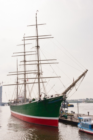 permanently: Rickmer Rickmers is a sailing ship (three masted bark) permanently moored as a museum ship in Hamburg Editorial