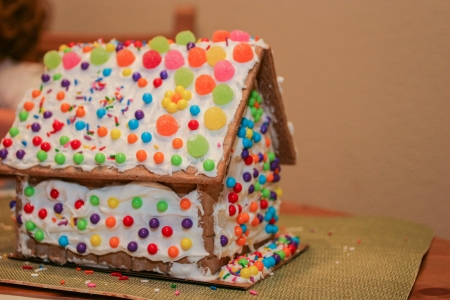 Making gingerbread house together at home before Christmas. Stock Photo - 21616702