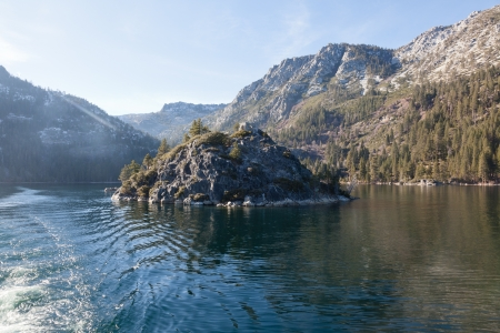 fannette: Fannette Island is the only island in Lake Tahoe, CaliforniaNevada, United States. It lies within Emerald Bay. Stock Photo