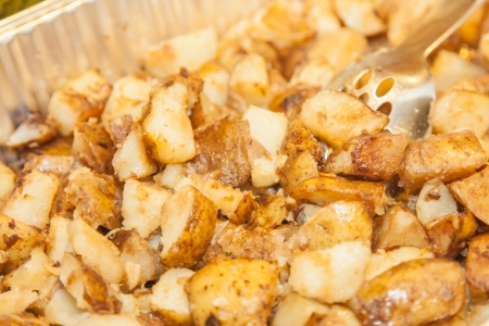 innards: Roast potato cubes have a flavorful and crispy exterior from high baking temperatures. Despite the crisped exterior, the innards of the potato cubes remain fluffy and moist.