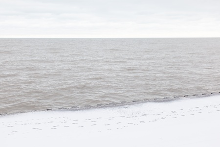 frozen lake: Snow on Christmas day in Chicago near Lake Michigan shore.