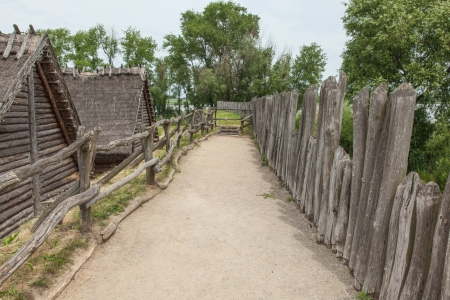 Archaeological open air museum Biskupin is an archaeological site and a life-size model of an Iron Age fortified settlement in north-central  Wielkopolska  Poland  Kuyavian-Pomeranian Voivodeship Stock Photo - 21971217