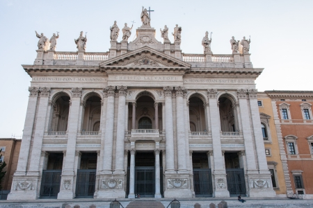 ecclesiastical: Papal Archbasilica of St. John Lateran is the cathedral church of the Diocese of Rome and the official ecclesiastical seat of the Bishop of Rome, who is the Pope. Stock Photo