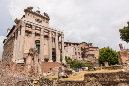 Temple of Antoninus and Faustina is an ancient Roman temple in Rome, adapted to the church of San Lorenzo in Miranda  It stands in the Forum Romanum, on the Via Sacra, opposite the Regia  photo