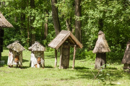 biskupin archaeological site: Archaeological open air museum Biskupin is an archaeological site and a life-size model of an Iron Age fortified settlement in north-central (Wielkopolska) Poland (Kuyavian-Pomeranian Voivodeship). Stock Photo