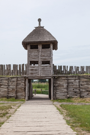 Archaeological open air museum Biskupin is an archaeological site and a life-size model of an Iron Age fortified settlement in north-central  Wielkopolska  Poland  Kuyavian-Pomeranian Voivodeship   Stock Photo - 22828498