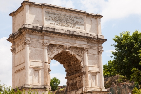 sacra: Arch of Titus is a 1st-century honorific arch located on the Via Sacra, Rome, just to the south-east of the Roman Forum. Stock Photo