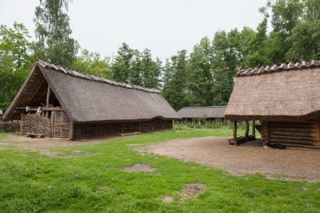 Archaeological open air museum Biskupin is an archaeological site and a life-size model of an Iron Age fortified settlement in north-central (Wielkopolska) Poland (Kuyavian-Pomeranian Voivodeship). Stock Photo - 23136762