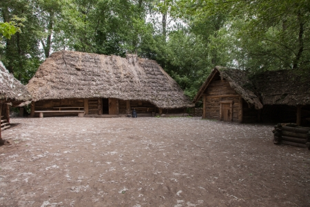biskupin archaeological site: Ancient wooden farmstead in Biskupin archaeological site