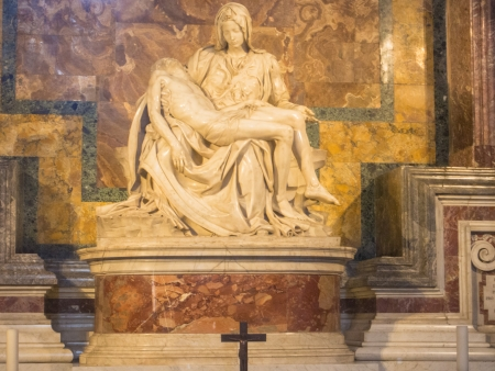 Pieta is probably the worlds most famous sculpture of a religious subject, depicted the Virgin with the dead Christ in her arms.
