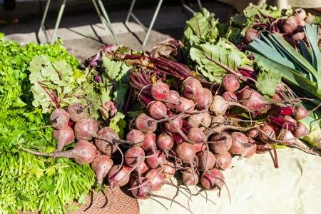 Trossen van verse biologische rode bieten te koop bij de lokale boeren markt.