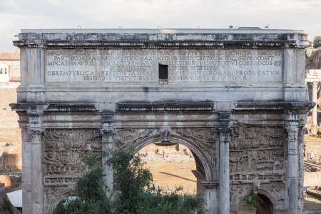 commemorate: Arch of Septimius Severus at the northwest end of the Roman Forum is a triumphal arch dedicated in AD 203 to commemorate the Parthian victories of Emperor Septimius Severus and his two sons, Caracalla and Geta, in the two campaigns against the Parthians.