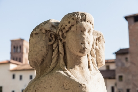 Quattro Capi   four heads   refers to the two marble pillars of the two-faced Janus herms on the parapet of Fabricius Bridge in Rome, Italy Stock Photo
