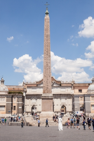 obelisk stone: Egyptian obelisk of Ramesses II from Heliopolis stands in the centre of the Piazza del Popolo Stock Photo