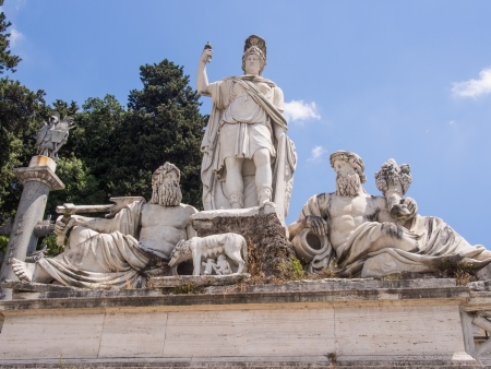 Dea Roma between the Tiber and the Aniene, fountain on the east side of Piazza del Popolo, against the steep slope of the Pincio, represents the terminal mostra of the aqueduct Reklamní fotografie