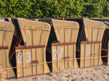 Strandkorbs are predominantly used on the coasts of North Sea and Baltic Sea, as well as other coasts with strong winds Stock fotó