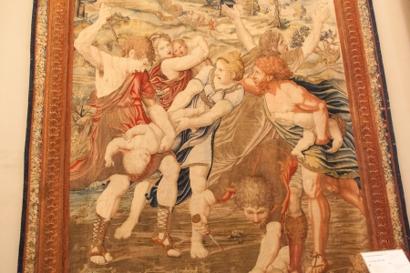 massacre: Massacre of the Innocents, created by students from Peter van Aelst's School, was based on drawings from Raphael's pupils. In this tapestry, there is a violent battle between the soldiers and mothers.