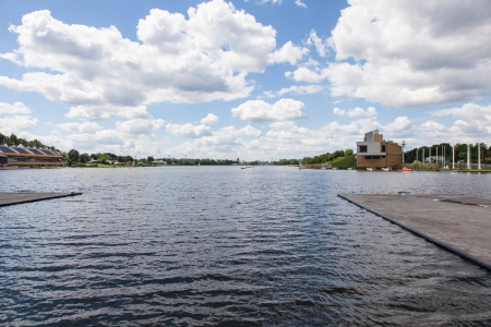 long lake: Lake Malta is an artificial lake in Poznań, Poland. It is about 2.2 km long, which makes the lake the biggest man-made lake of the city. Stock Photo