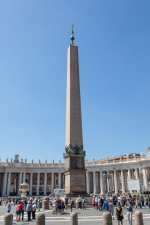 surmounted: Egyptian obelisk of red granite, 25.5 meters tall, supported on bronze lions and surmounted by the Chigi arms in bronze