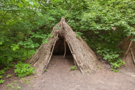 palaeolithic: Stone age hunters gatherers encampment in Biskupin archaeological site. Stock Photo