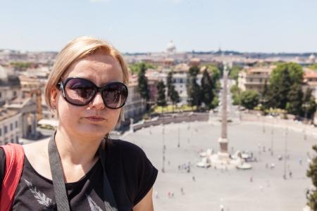 Piazza del Popolo is a large urban square in Rome. Stock Photo