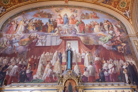 frescoed: Episodes from the Old Testament frescoed on the large walls and on the vault refer to the Immaculate Conception.