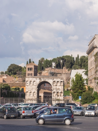 janus: Arch of Janus is the only quadrifrons triumphal arch preserved in Rome, across a crossroads in the Velabrum-Forum Boarium