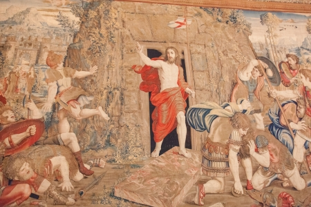 Tapestry in Vatican Museum based on a painting by Raphael of the Resurrection of Jesus
