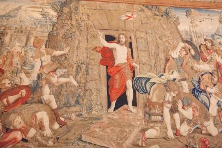 Tkaniny w Muzeum Watykańskim na podstawie obrazu Rafaela zmartwychwstania Jezusa
