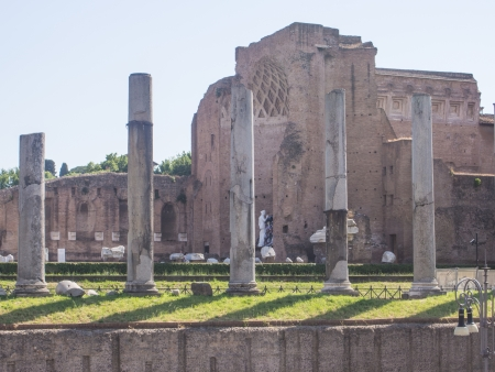 previously: Santa Francesca Romana, previously known as Santa Maria Nova, is a church in Rome, Italy, situated next to the Roman Forum in the rione Campitelli. Stock Photo