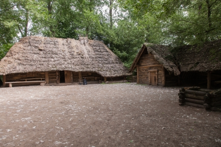 farmstead: Ancient wooden farmstead in Biskupin archaeological site
