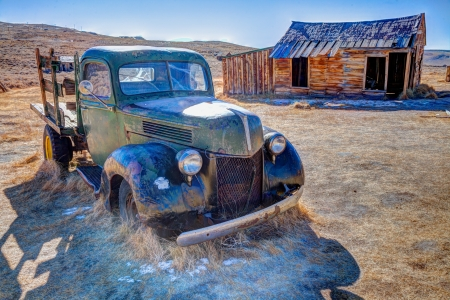 mining town: Bodie is a ghost town in the Bodie Hills east of the Sierra Nevada mountain range in Mono County, California, United States Stock Photo