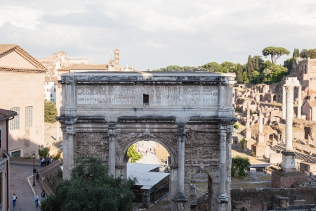 severus: Arch of Septimius Severus at the northwest end of the Roman Forum is a triumphal arch dedicated in AD 203 to commemorate the Parthian victories of Emperor Septimius Severus and his two sons, Caracalla and Geta, in the two campaigns against the Parthians.