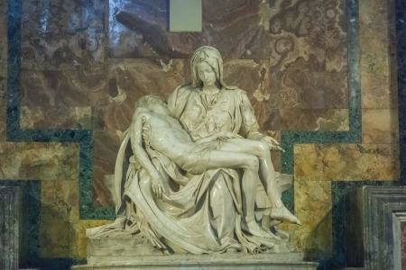 Pieta is probably the worlds most famous sculpture of a religious subject, depicted the Virgin with the dead Christ in her arms. photo