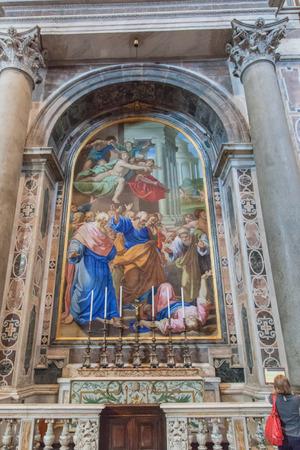 retablo: Retablo es un mosaico que representa el castigo de la Pareja Anan�as y Safira