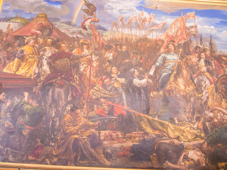 sobieski: Sobieski Room is dominated by the great oil painting, completed in 1883 by Polish painter Jan Matejko (1838-93), of Sobieski pod Wiedniem, representing the victory of the King of Poland John III Sobieski against the Ottomans at Vienna in 1683. Editorial