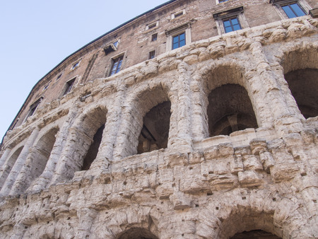 Theatre of Marcellus is an ancient open-air theatre in Rome, Italy, built in the closing years of the Roman Republic. Stock Photo