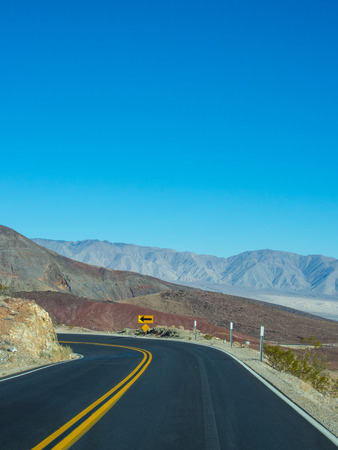 Route 190 in Death Valley National Park heading down to Panamint Valley. photo